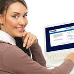 Photo of an employee using the Apex Payroll website